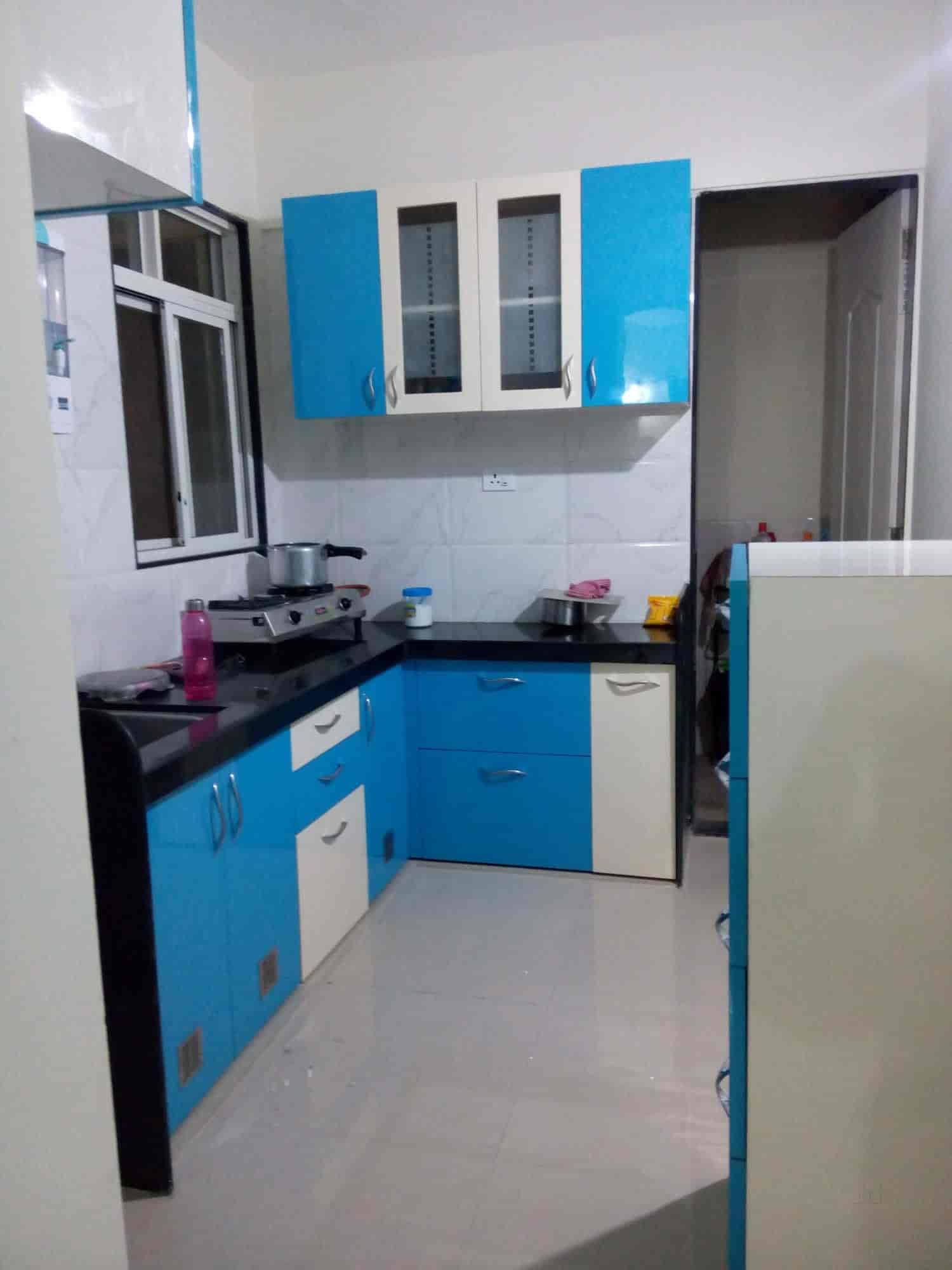 Blue Modular Kitchen. Painting Flooring Carpentry False Ceiling ...